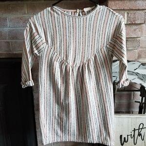 ZARA girls textured striped dress